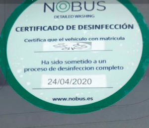 certificado coches con chofer desinfectados madrid